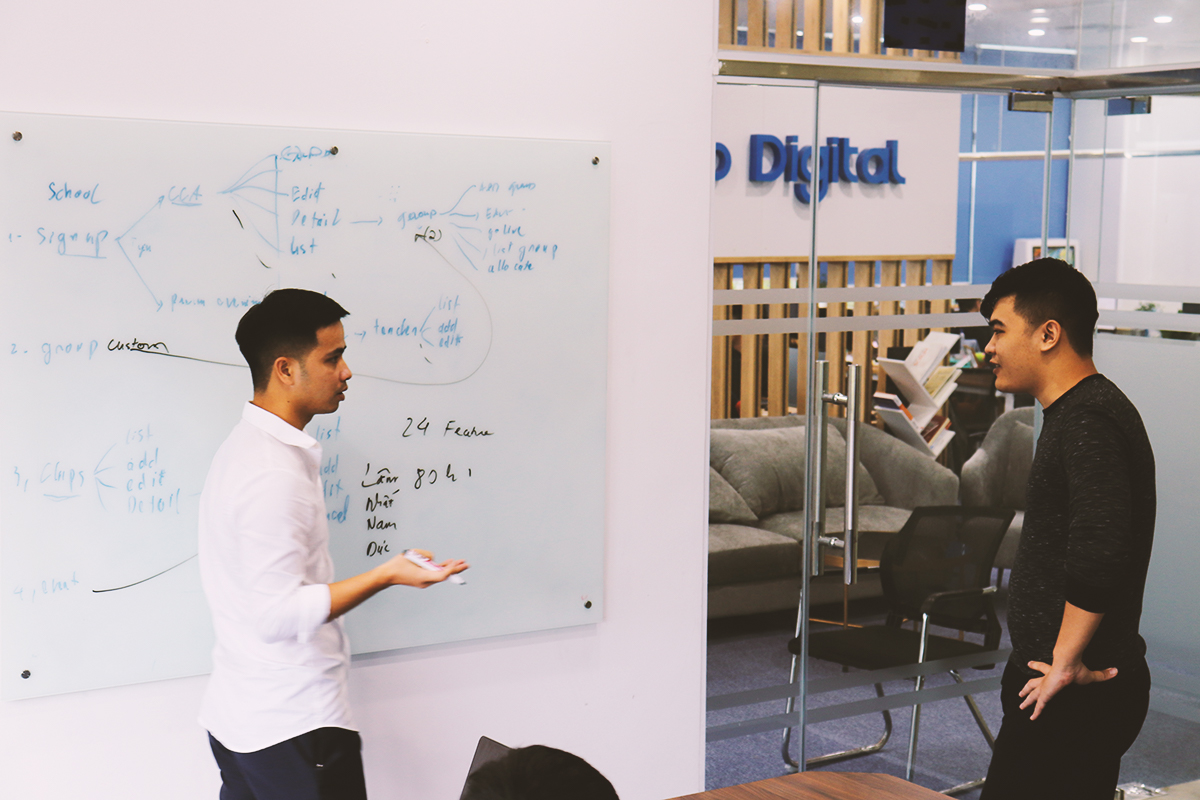 dedicated development team in agile meeting hospitality software development services